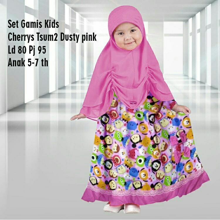 Set Gamis Kid Tsumtsum Busana Muslim Anak Gamis Anak Terbaru
