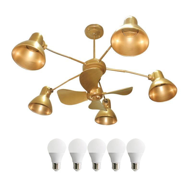 EELIC LHG-46 GOLD Lampu Gantung Kipas Lima Kap Cantik + 5 PCS LED 5 WATT Dengan Selang Flexible Yang Bisa Diubah Arahnya Dilengkapi Dengan Kipas Angin 4 Baling
