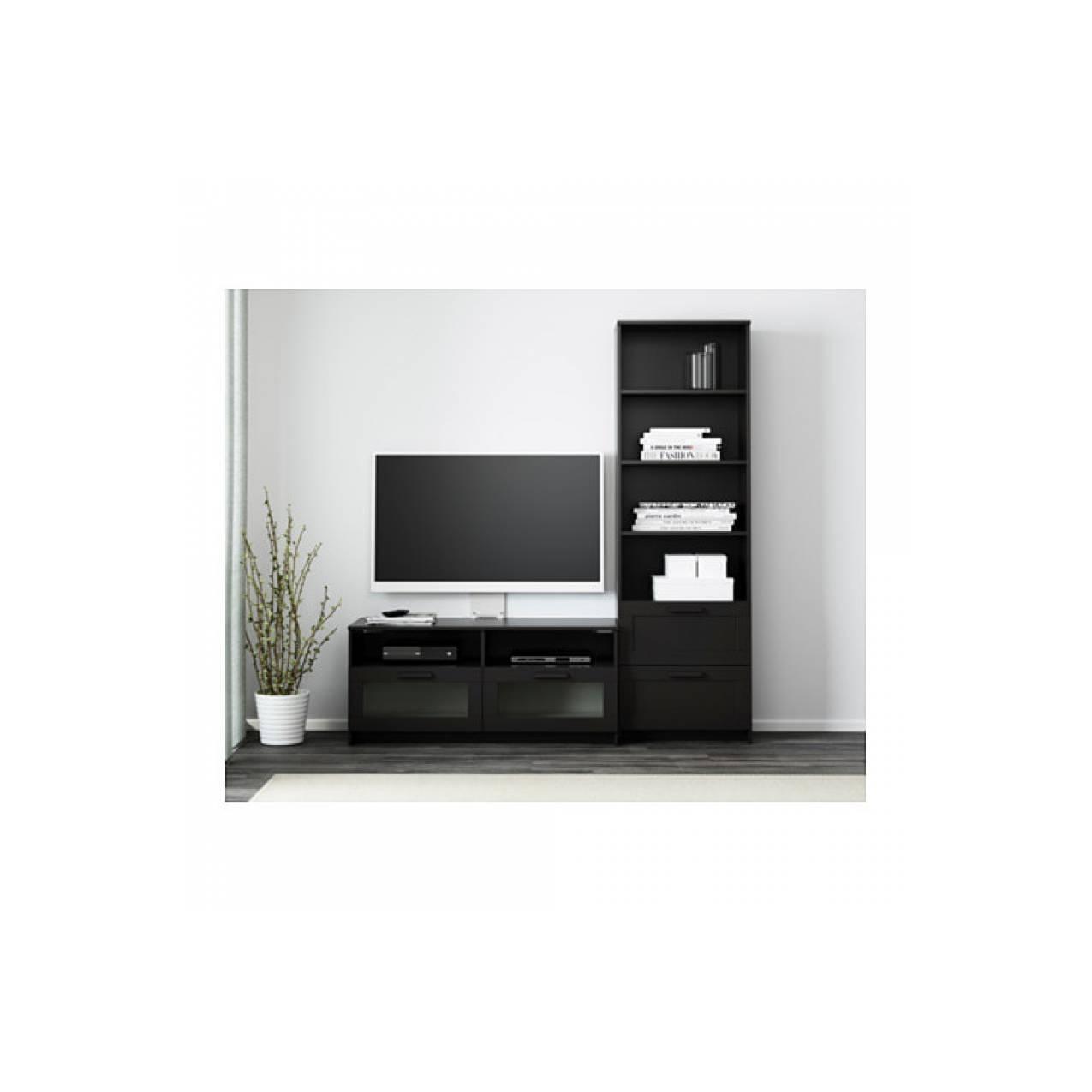 IKEA BRIMNES Kombinasi penyimpanan rak / lemari TV & buku, hitam