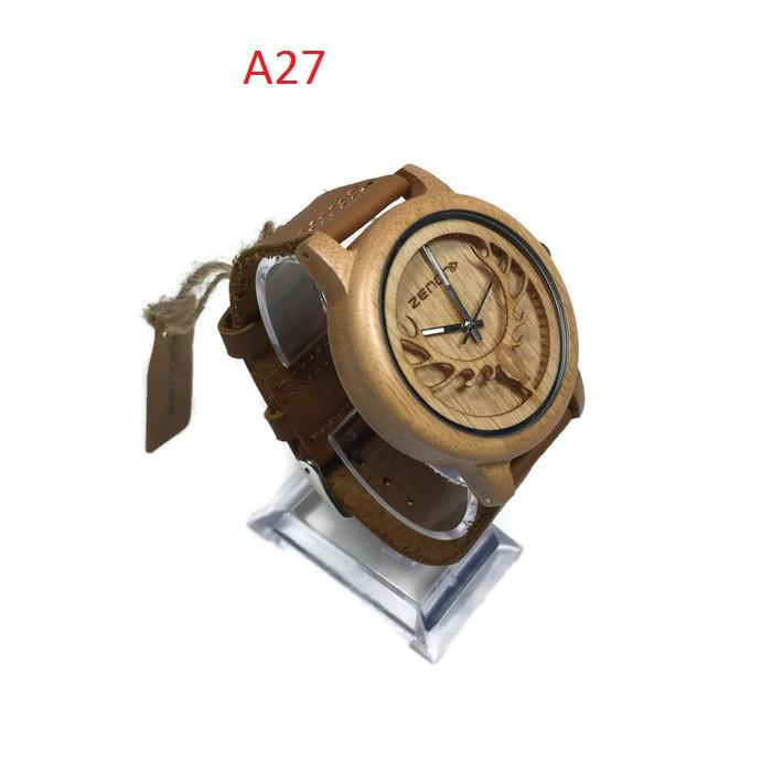 Original ZENON Premium Real Bamboo Waterproof Wooden Japan Quartz Movement Watch - A27 - Men - Jam