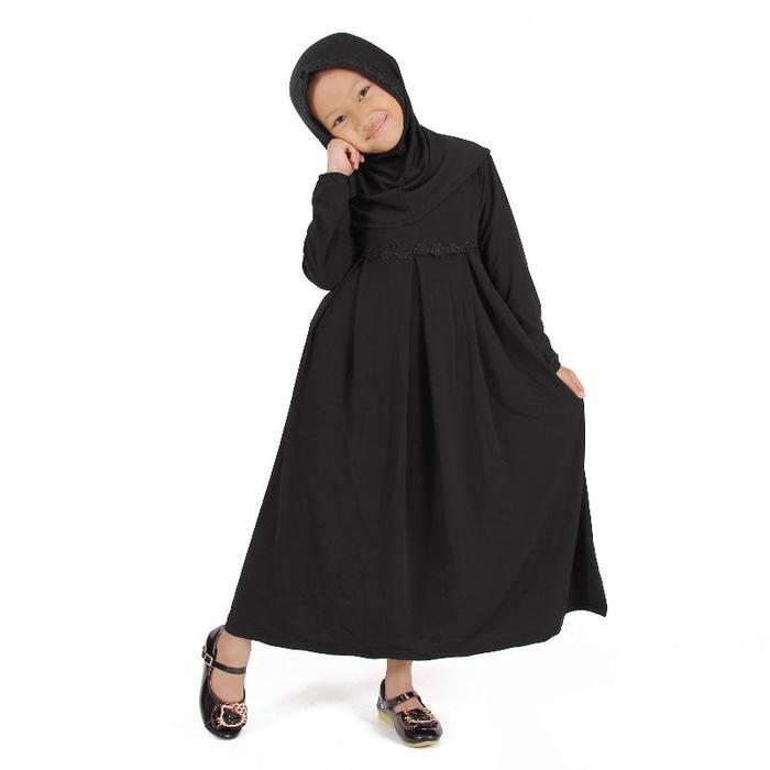 Baju Muslim Gamis Anak Perempuan Warna Hitam Lucu Simple