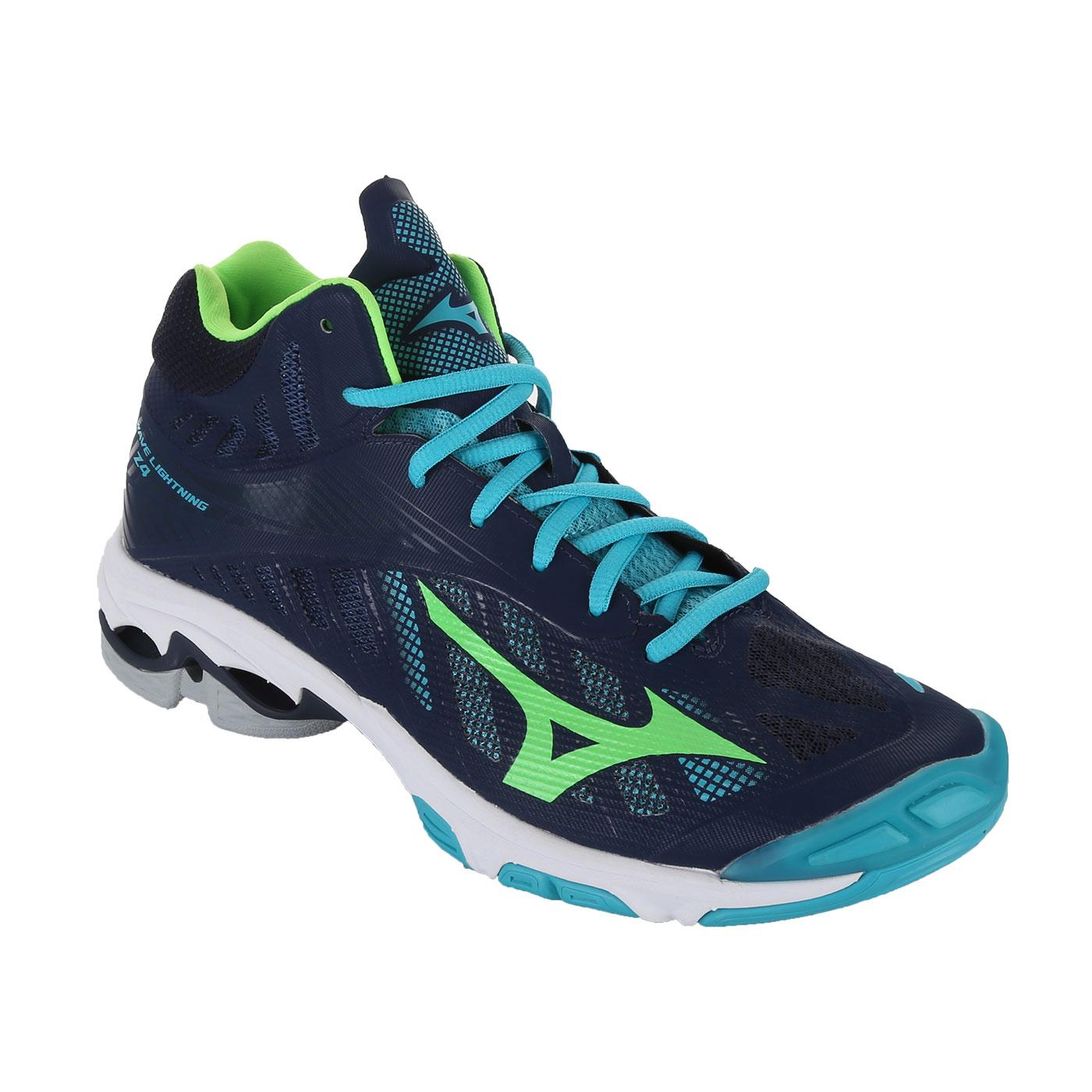 Sepatu voli Mizuno V1GA180536 Wave Lightning Z4 Mid - Dress Blues Green Gecko Peacock