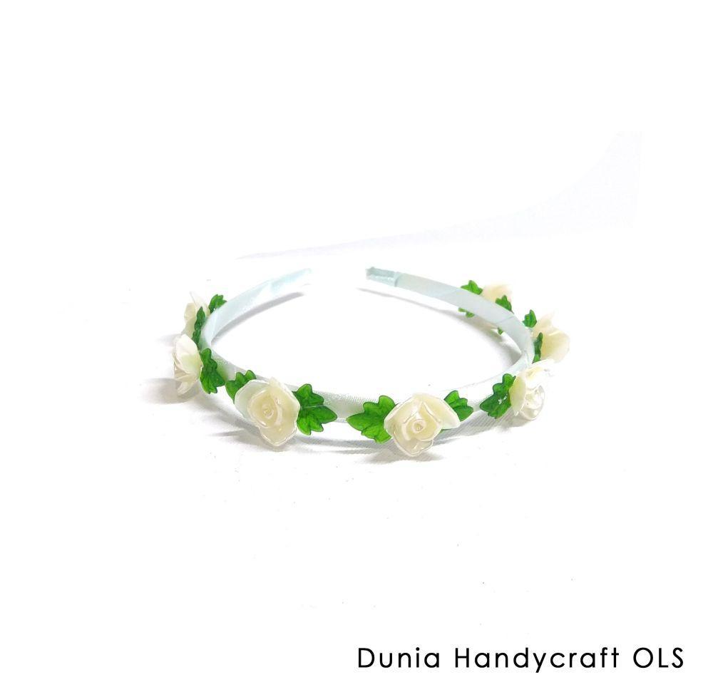Bando Bunga Kualitas Bagus Harga Termurah - Bando Mawar Mutiara Putih