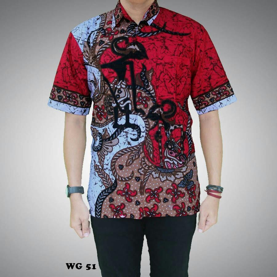 Jual Baju Batik Pria Baju Batik Modern Kemeja Batik Pekalongan Hem Batik Kemeja Motif Wayang Tumpuk Merah