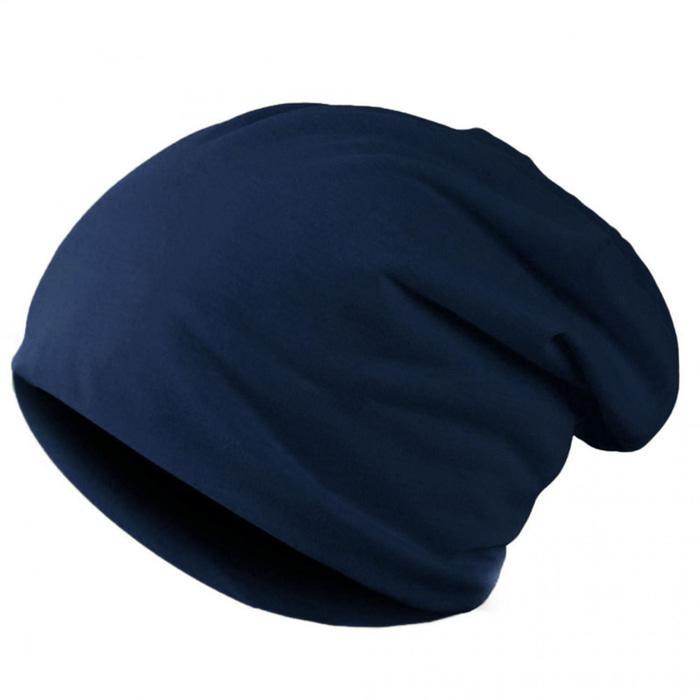 Azljaya - Topi Kupluk Polos Kaos Spandek Pria/wanita (Biru Dongker) polos