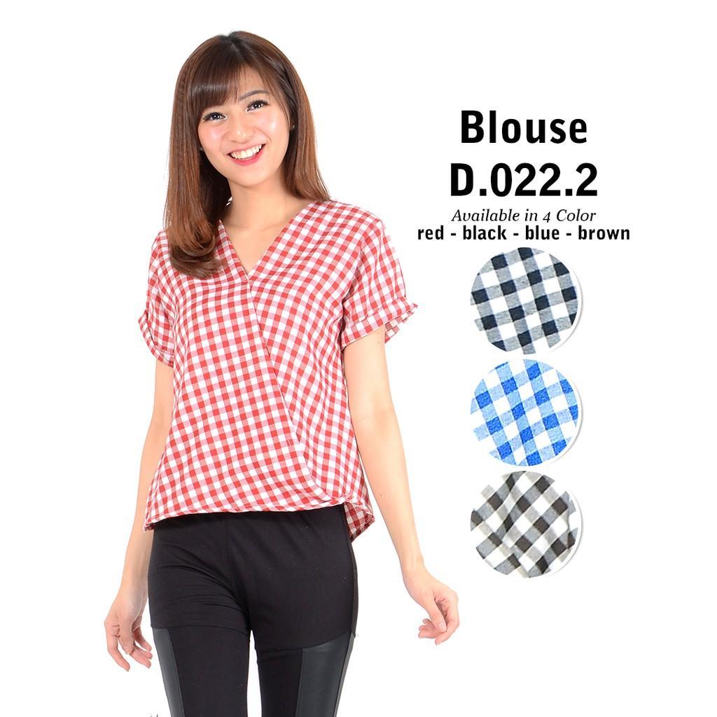 Monellina Fashion Baju Blouse Atasan Kemeja Kerja Murah Wanita/Cewek Kekinian D0222 Yukata Kotak