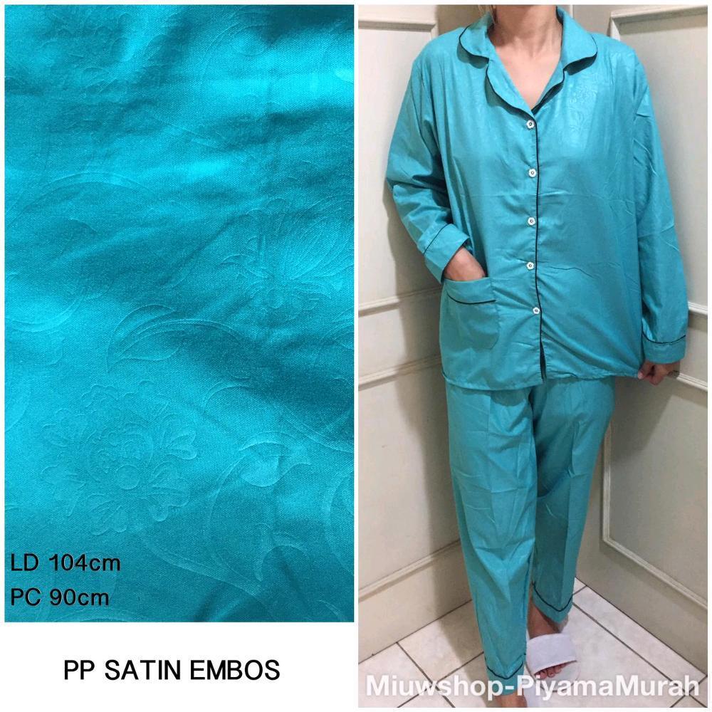 Baju Santai Atau baju Tidur Wanita Satin Polos - Baju Bahan Satin Embos Polos