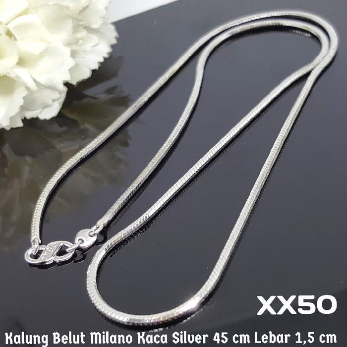 XX50 Kalung Belut Milano Kaca Silver (Perhiasan Imitasi Xuping Perak)