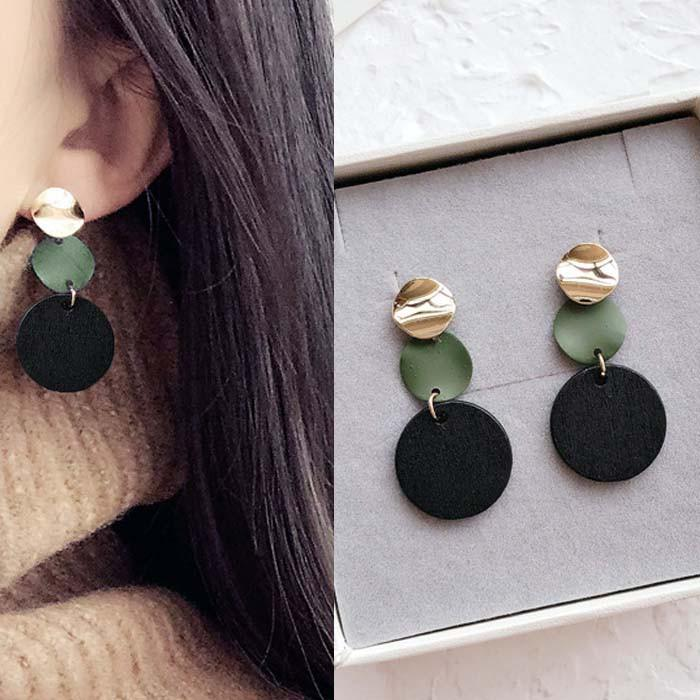 Anting Korea Aksesoris Fashion Anting Stud Import Murah Lucu [ Circle Wood Earrings DES208 ]
