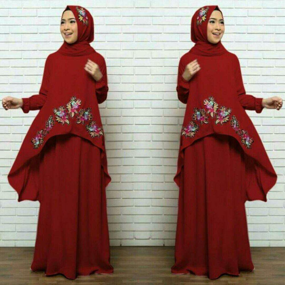Newone Shop Nheza Gamis Syari Wanita - Baju Muslim Wanita Bordir Bunga - Terbaru