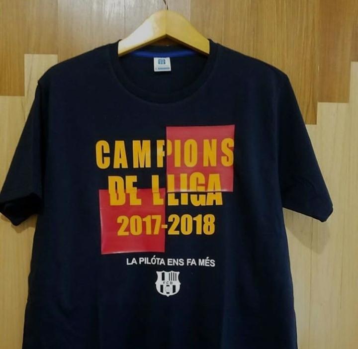 Kaos Baju Combed Costum - Barcelona Campions De LLiga 2018 / Tshirt Premium Casual Pria Combed