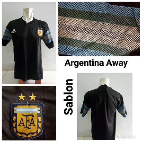 Jersey Baju Argentina Away Hitam World Cup 2018 Kaos Kostum Jersy Jersi Bola Negara Piala Dunia WC 18 Grade Lokal ALLSIZE