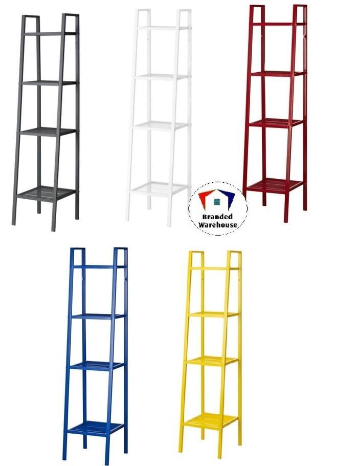 IKEA LERBERG, Rak, 35 x 35 x 148, Baja berlapis, Putih/Abu Tua