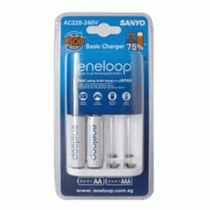 Jual Eco Eneloop Charger include 2 Batre / Batere / Baterai / Battery Sanyo Eneloop AA / A2 2000mAh 1500x (batre Made In Japan)
