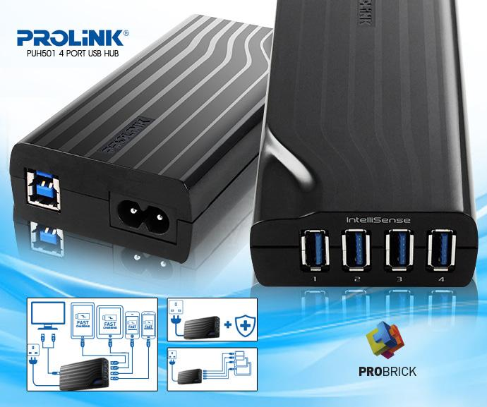 2-In-1 Powered Usb3.0 Hub And Quick Charger Combo Prolink PUH501