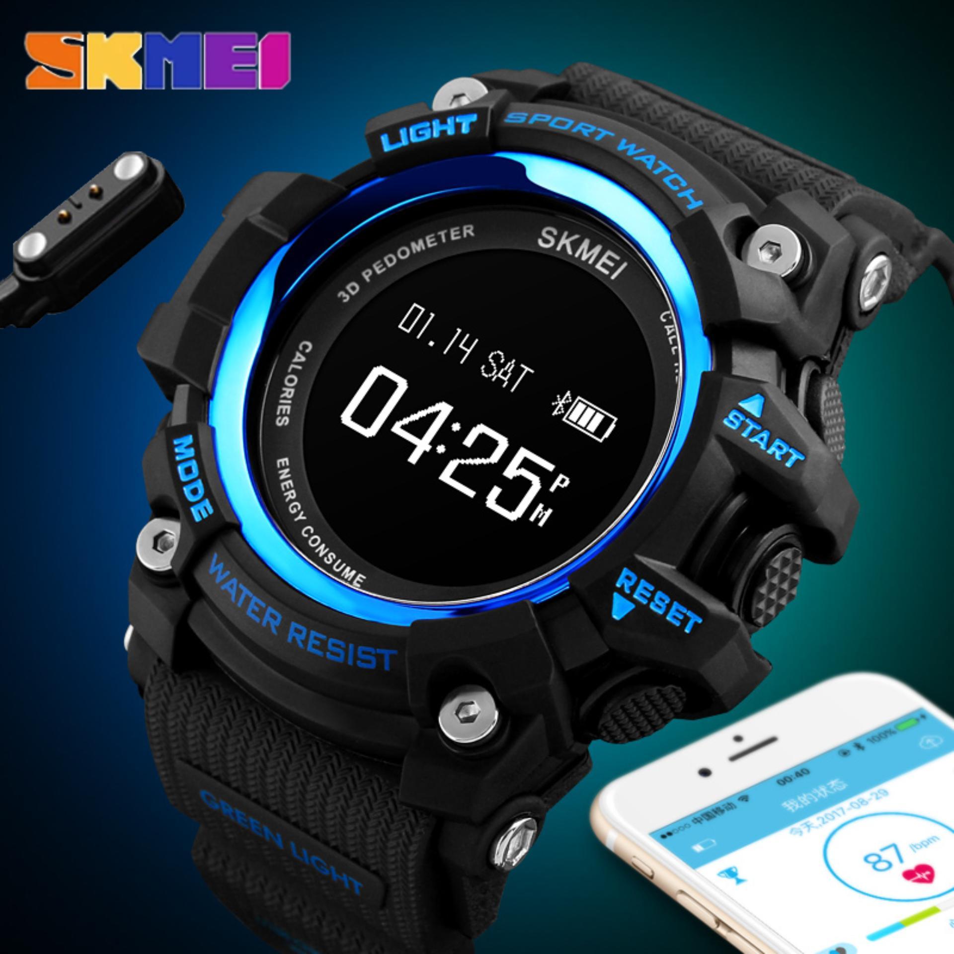Skmei Pria Pintar Olahraga Jam Tangan Alat Pengukur Langkah Denyut Jantung Kalori Bluetooth Kamera Luar Ruangan Jam Tangan Multifungsi Tidur Monitor Anti-Air Jam Tangan 1188- internasional