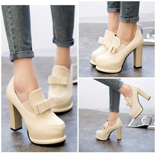 Sepatu Fashion Wanita SHH1505-Beige Sepatu High Heels Import Wanita 12CM Flat Shoes BATAM WANITA