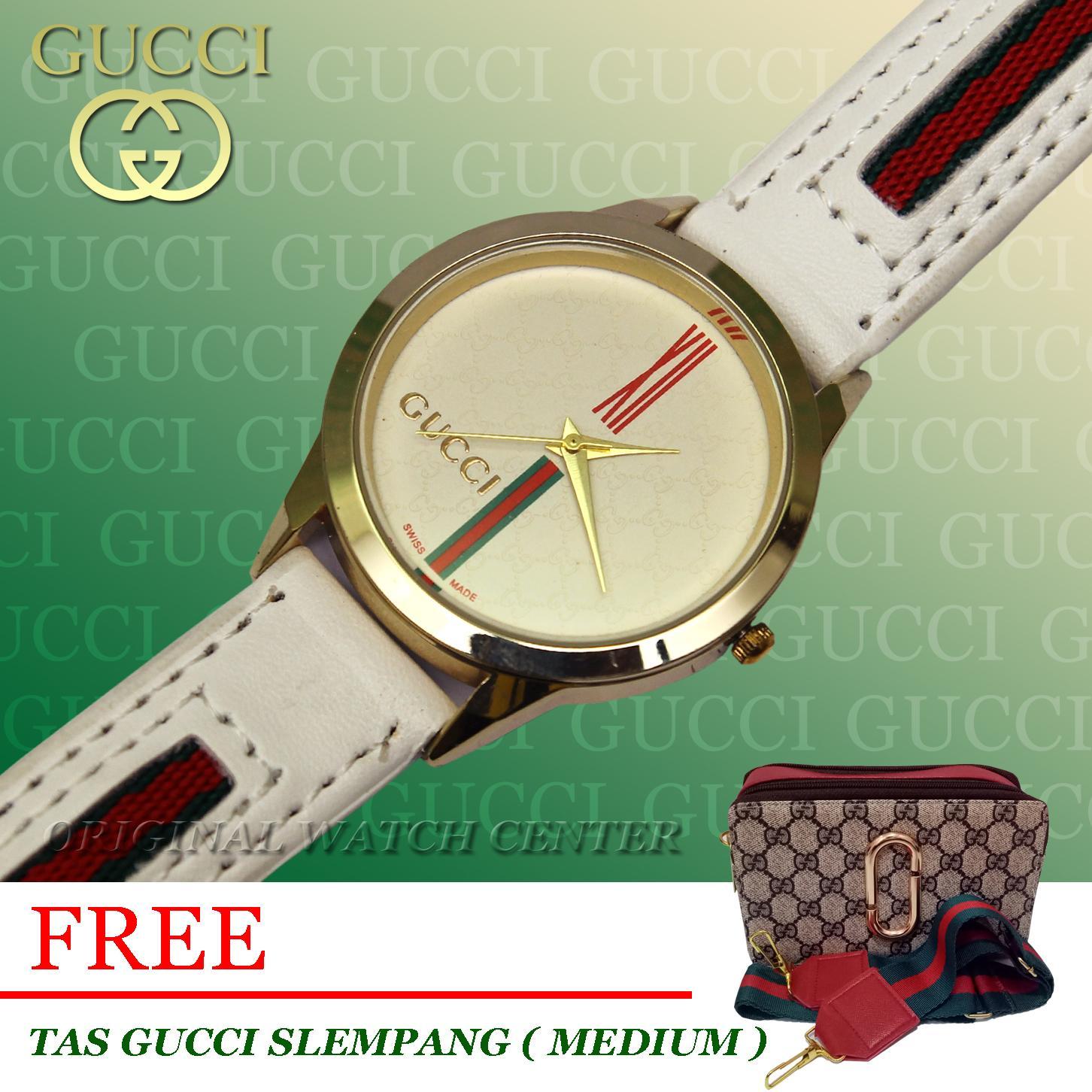 Jam Tangan_Gucci_Rose Gold_ Jam Tangan Wanita - Desain kasual Dan Fashionable - Tali Kulit [ PROMO ] Gratis Tas Slempang Gucci