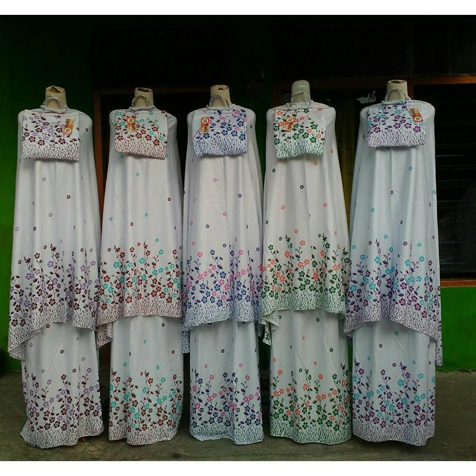 Mukenah Setelan Katun Bali Batik warna Traveling Jumbo Dewasa Murah/Mukena Batik Bunga/Haji Umroh ungu