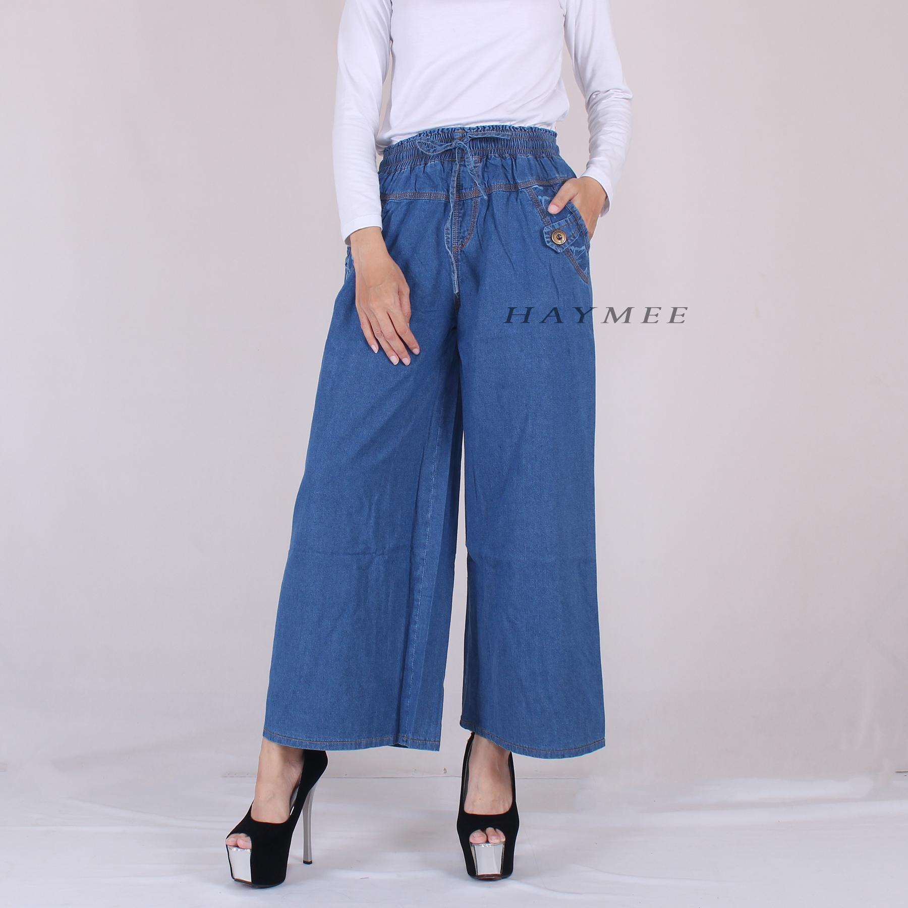 HaymeeStore Celana Kulot Jeans Denim Panjang Wanita Celana Cullot Denim Cewek Bawahan Cewe Pakaian Kantor Casual Fashion