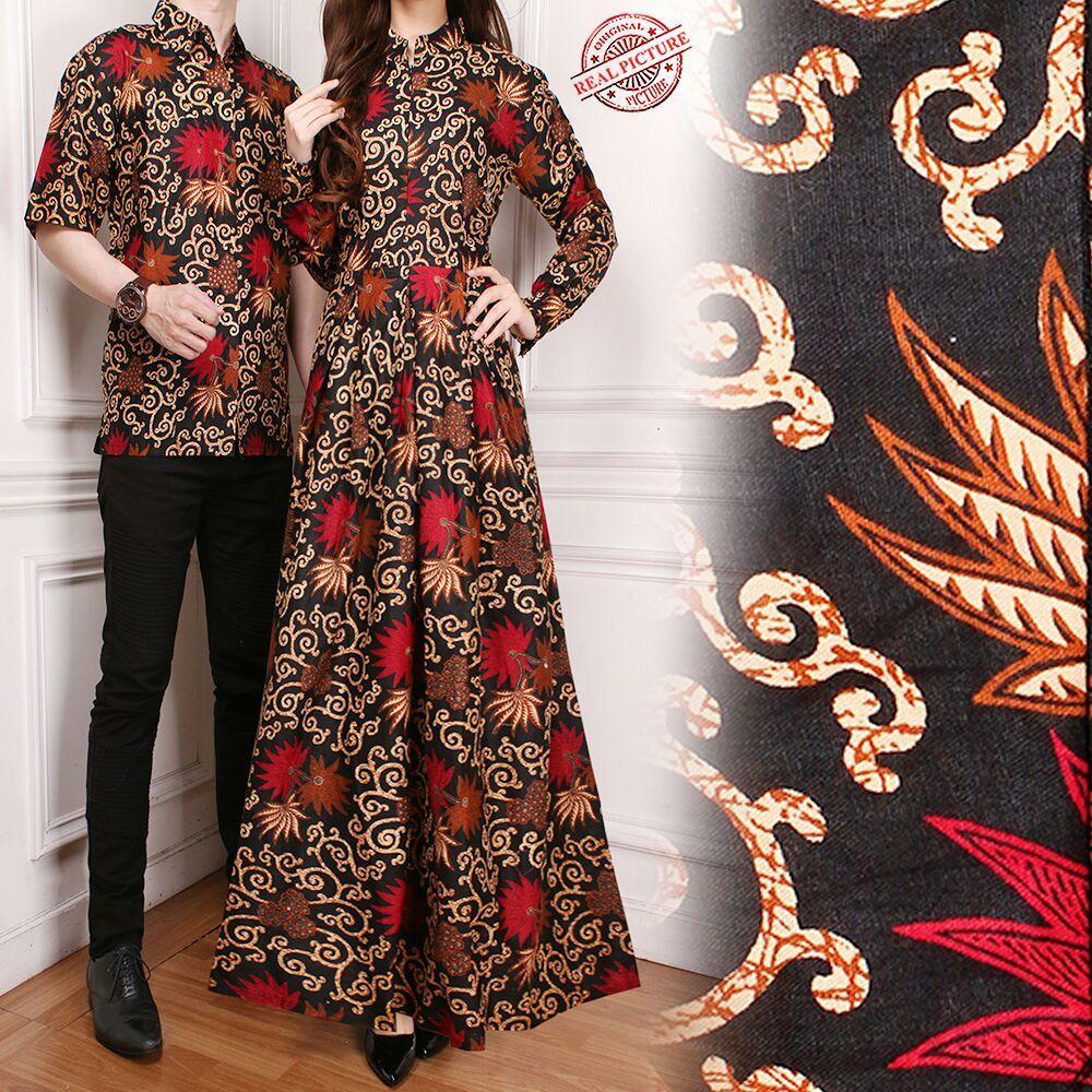 Glow fashion Couple batik dress maxi panjang wanita jumbo long dress dan atasan kemeja pria shirt Bethie