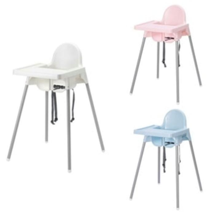 IKEA ANTILOP Kursi makan anak dengan baki, warna perak