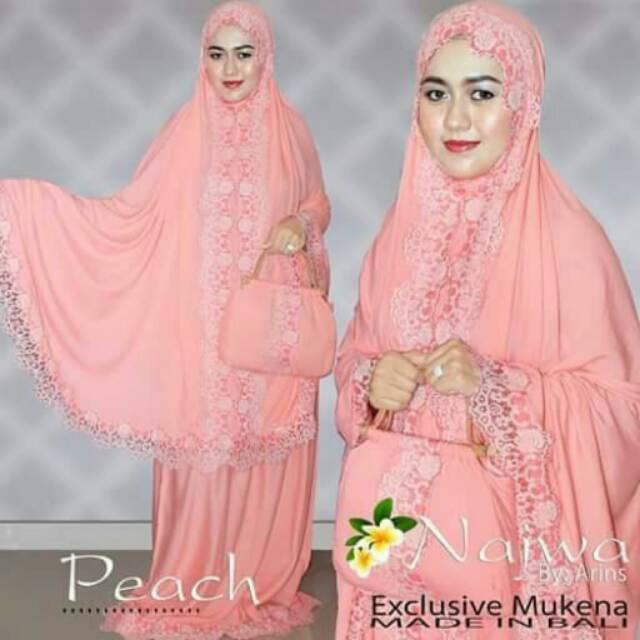 Mukena Bali RENDA NAJWA ARINS Peach Katun Rayon Super Jumbo Original