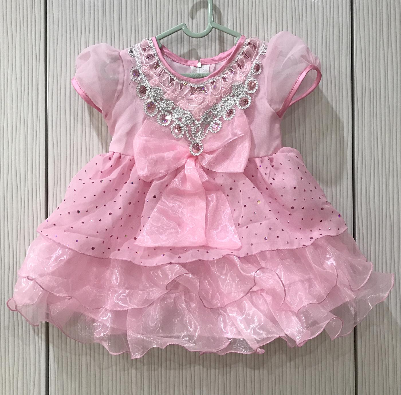 BAYIe - Baju Bayi Pesta Anak Perempuan model Pita Besar umur 1 - 2 tahun PANCA INDAH/Dress Gaun Pesta anak cewek