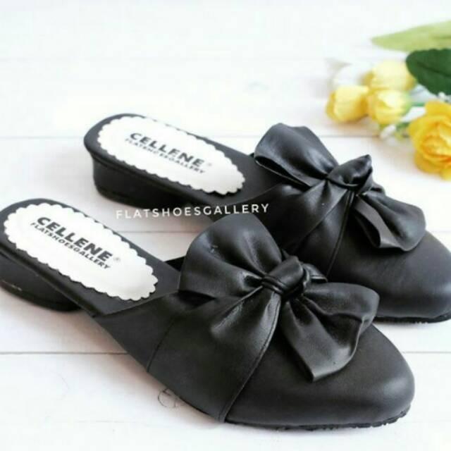 Sepatu sandal selop pita ikat hitam putih coklat murah Elfan