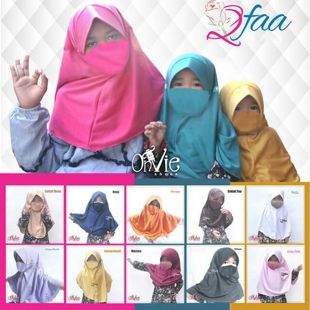 Jilbab  anak  Kerudung Serut Anak Sekolah  Hijab Instan Anak  Jilbab Qfaa