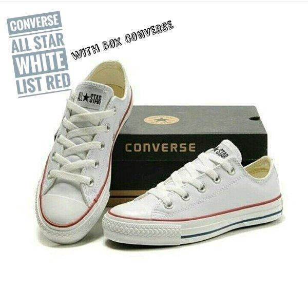 Sepatu Casual Harian Sekolah Kuliah Converse Allstar CT Mono Full White Putih Low Pria Wanita Couple