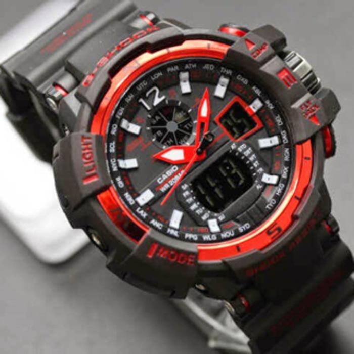 Jam Tangan Pria GShock GWA1000 Hitam List Merah G-Shock GWA1000