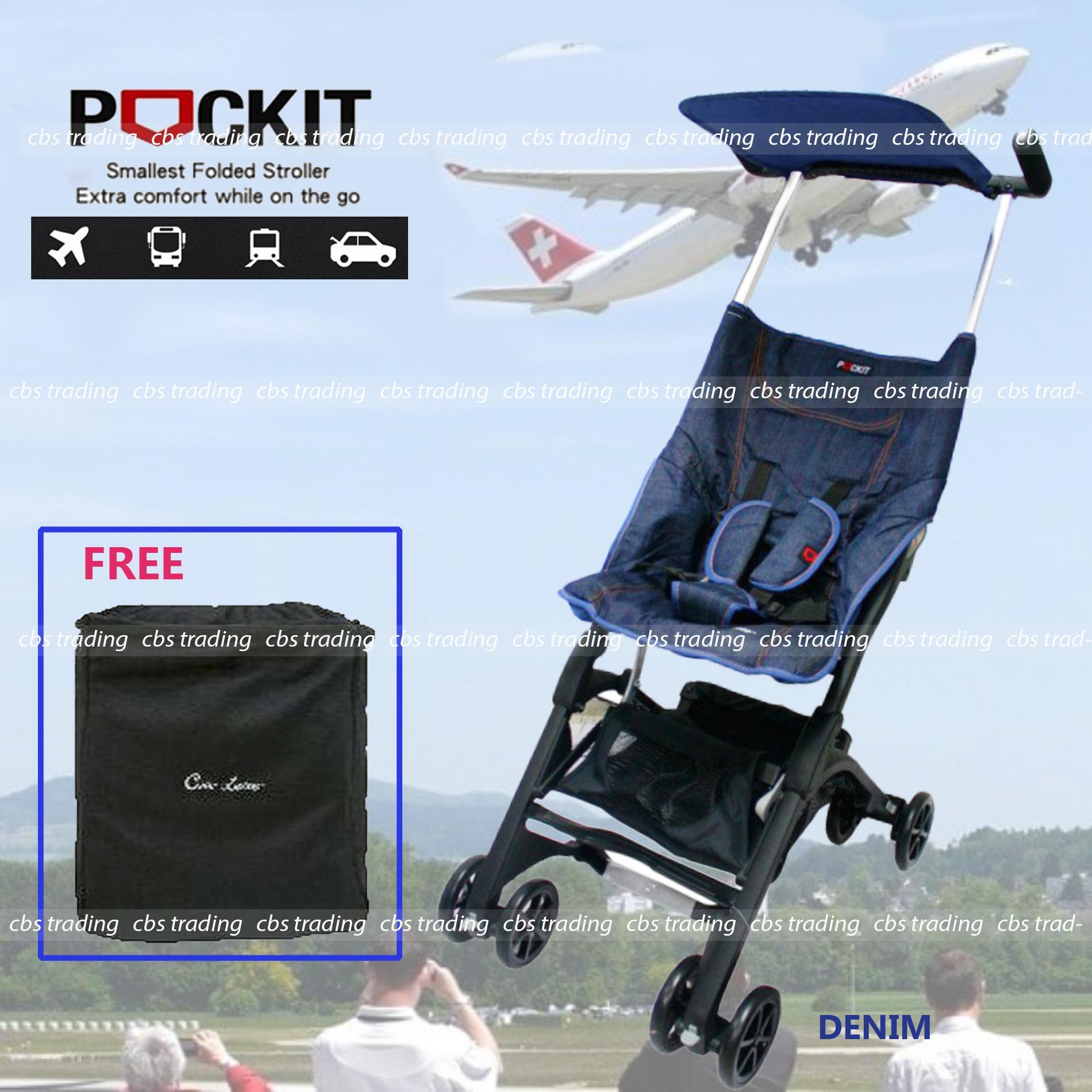 Cocolatte  Stroller CL-688 Pockit With Bag - Kereta Dorong Bayi - Biru Denim