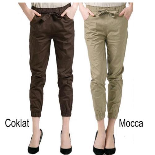 Celana joger panjang wanita terkini dan modelis-long pant - Coklat