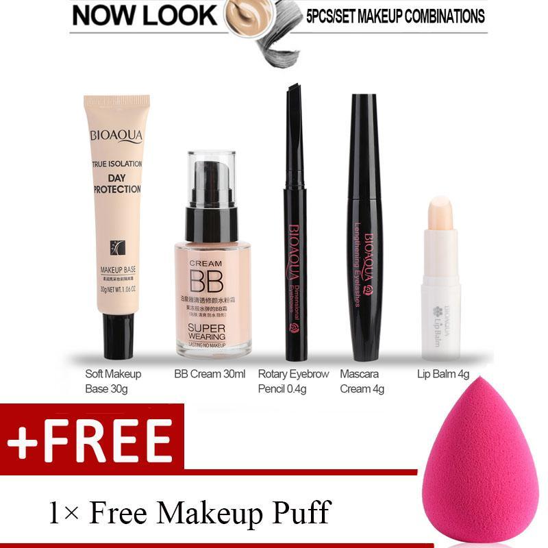 [1 Free Gift] BIOAQUA Cosmetic Makeup Set for Beginner Lip Balm BB Cream Eyebrow