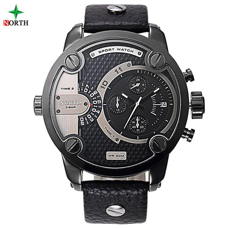 ... NORTH 6001LSilver Fashion Watches Men Design Male Wristwatch 30M Waterproof Casual Leather Clock Military Quartz Sport