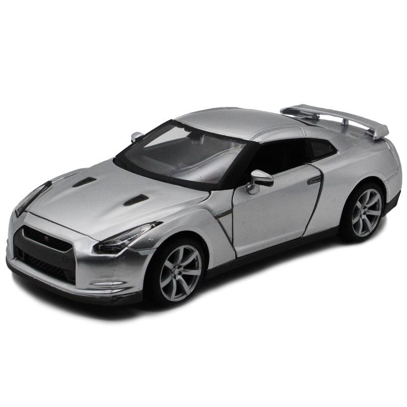 Meichi Gambar 1:24 Nissan GTR Silver 2009 Paduan Model Mobil Childrens Holiday Collection Gift