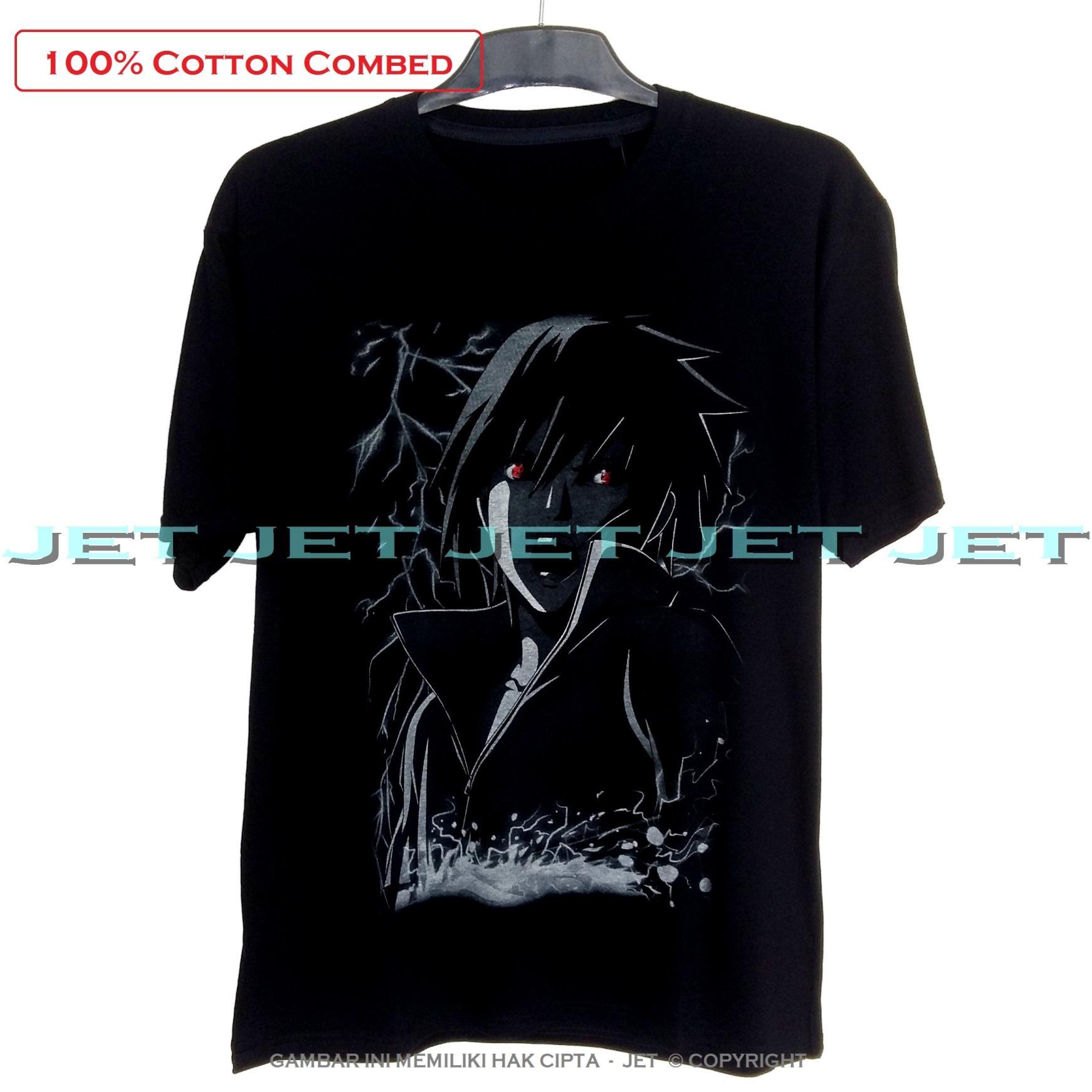 JET – SASUKE 100% Soft Cotton Combed 30s Kaos Distro Fashion T-Shirt Atasan Oblong Baju Pakaian Polos Shirt Pria Wanita Cewe Cowo  Lengan Murah Bagus Keren Jaman Kekinian Jakarta Bandung Hitam Gambar Animasi Kartun Superhero Anime Naruto Kyubi Uciha sarin