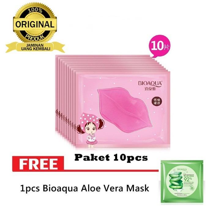 10pcs Masker Bibir Bioaqua Collagen Nourish Lips Mask - Masker Bibir Pink