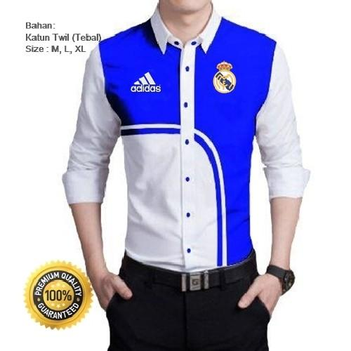 Kemeja Bola Real Madrid Type Oval Putih Biru Full Bordir - Kemeja Casual