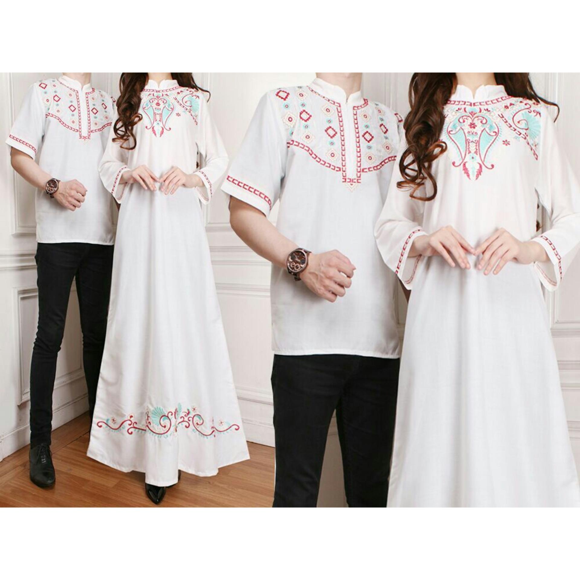 Baju Wanita Shop Batik Couple / Kemeja Gamis Muslim / Gaun Dress Hijab Muslim / Gamis Syar'i pasangan (wne egantel) SS - Putih D1C