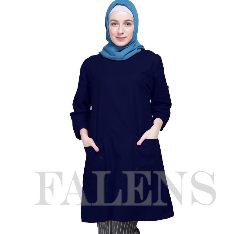 Falens Gina Tunik Atasan wanita Baju Blouse cewek Fashioeun lgus Cantik Bahan Adem - Biru blue