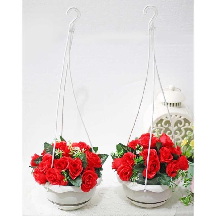 1 SET ISI 2 bunga plastik hias artifisial mawar + pot gantung shabby 1 - RaHUrR