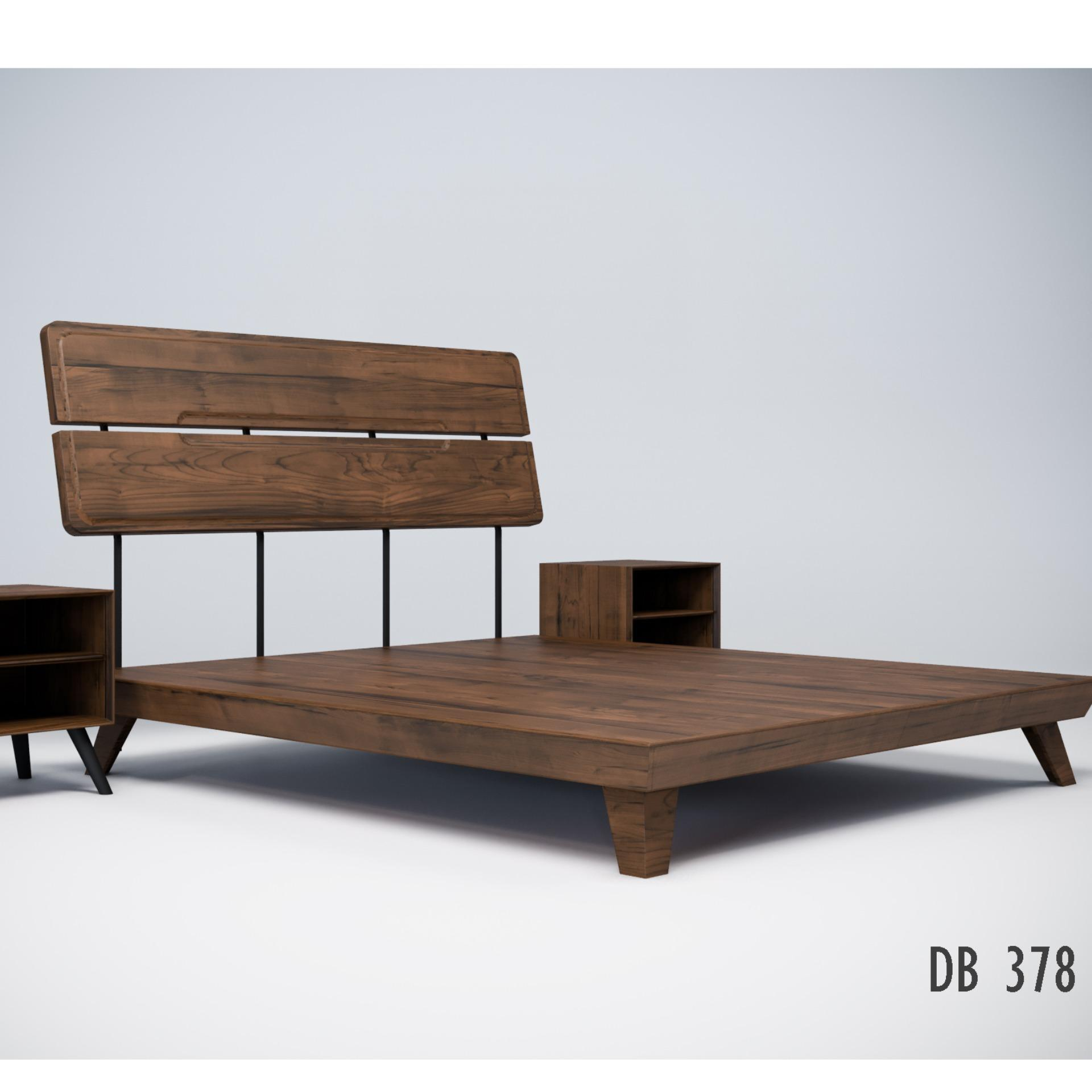 Graver Ranjang Double Bed KING Size 190  x 225 Noix Series DB 378 - Tanpa Kasur & Nakkas - Columbia Walnut