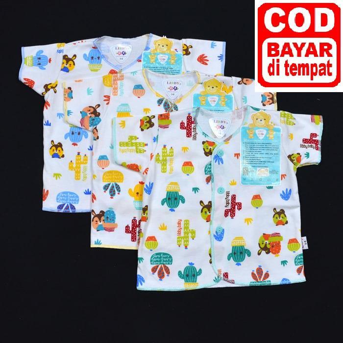 Paket - Libby Baju Bayi Pendek Motif - Libby Baju Pendek (0-3M) - 3pc Baju
