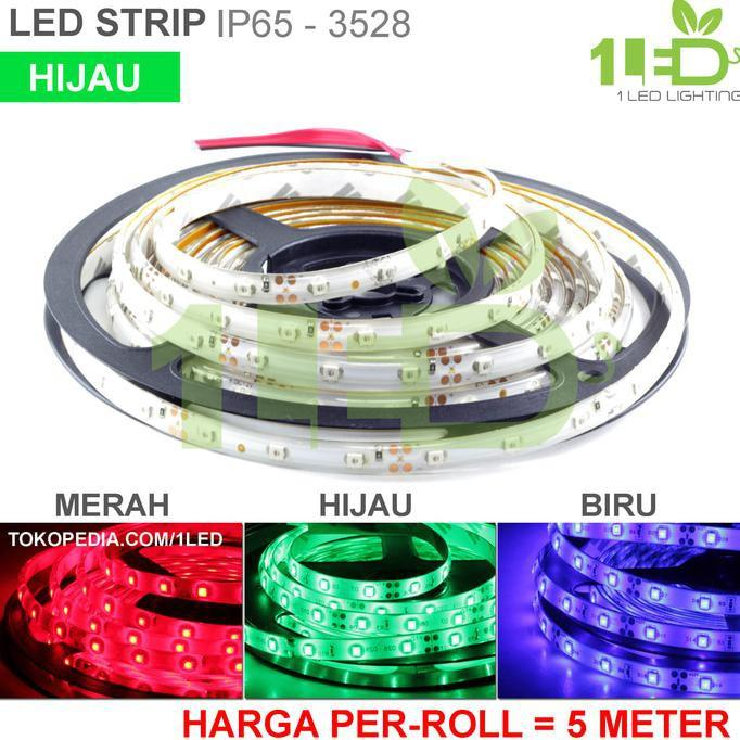 BIG SALE! Lampu LED Strip Flexible Hijau Roll 5 Meter 6W IP65 SMD 3528 Motor