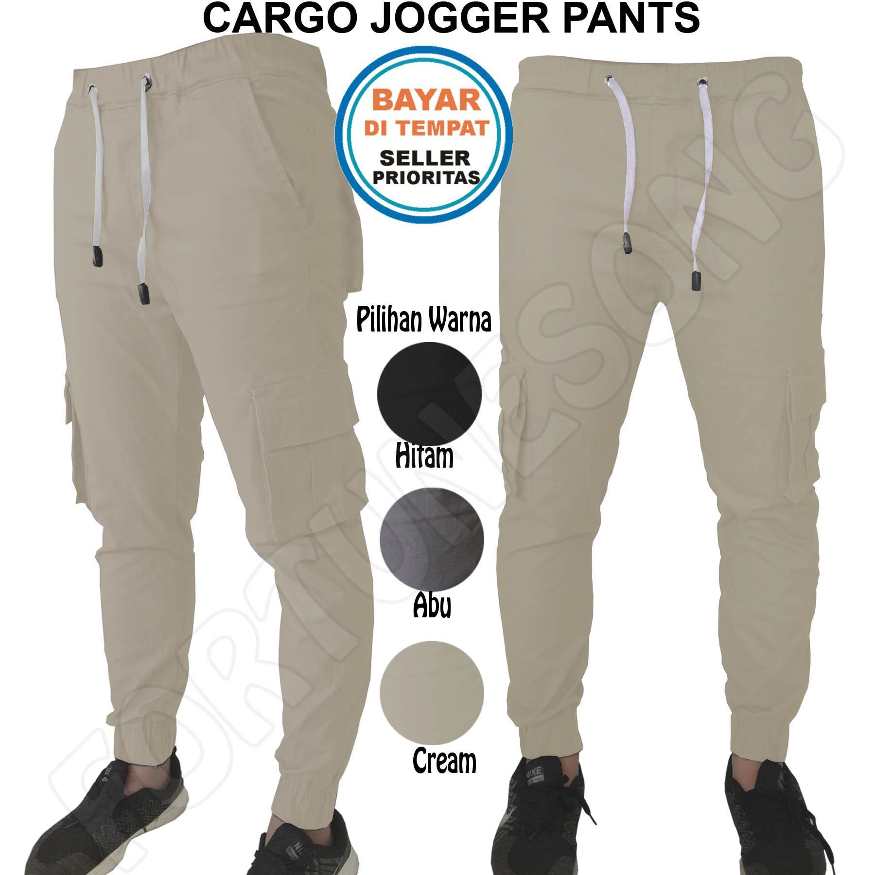 Fs'Fashion-Celana Joger Panjang Pria Chino Cotton Slimfit [Abu, Cream dan Hitam]