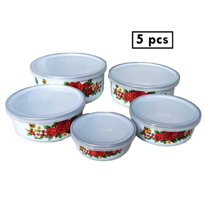 Maspion mangkuk mixing bowl 5pcs porcelain enamel + tutup / rantang susun 5 enamel