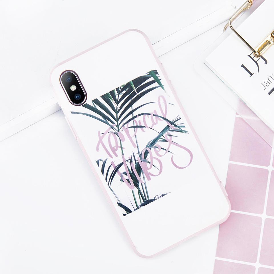 USLION Lucu Kartun Flamingo Telepon Kasus Untuk iPhone X TPU SIlicone Penuh Penutup untuk iPhone 7 8 6 6 s Ditambah Hijau Daun Kembali Kasus Jet Hitam