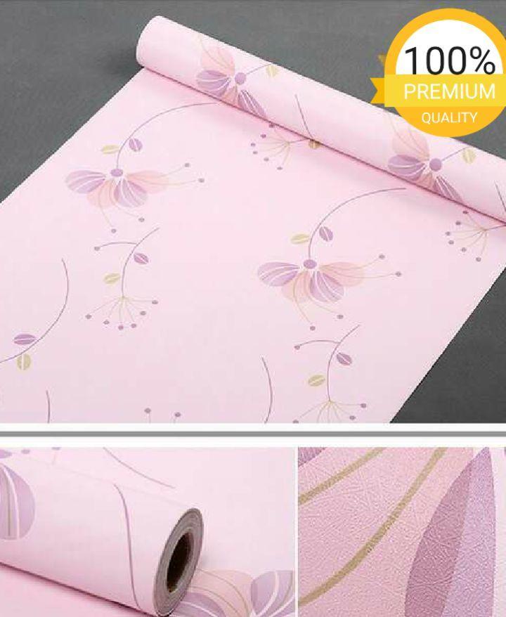Wallpaper dinding murah ruang tamu rumah kamar tidur bunga pink keunguan terbagus terlaris terindah termurah elegan minimalis cantik